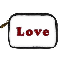 Love Typography Text Word Digital Camera Leather Case