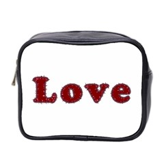 Love Typography Text Word Mini Travel Toiletry Bag (two Sides)