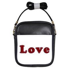 Love Typography Text Word Girl s Sling Bag