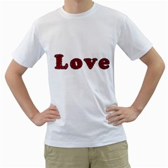 Love Typography Text Word Men s T-Shirt (White)