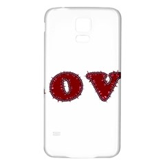 Love Typography Text Word Samsung Galaxy S5 Back Case (White)