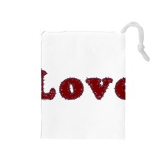 Love Typography Text Word Drawstring Pouch (Medium)
