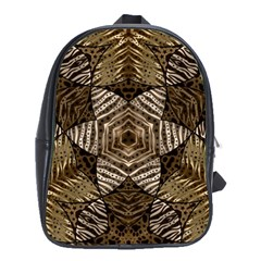 Golden Animal Print Pattern  School Bag (large)