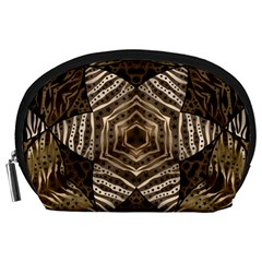 Golden Animal Print Pattern  Accessory Pouch (Large)