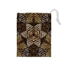 Golden Animal Print Pattern  Drawstring Pouch (Medium)