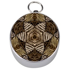 Golden Animal Print  Silver Compass