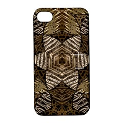 Golden Animal Print  Apple Iphone 4/4s Hardshell Case With Stand