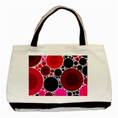 Retro Polka Dot  Twin Sided Black Tote Bag