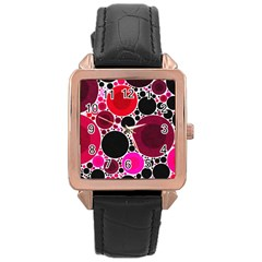 Retro Polka Dot  Rose Gold Leather Watch
