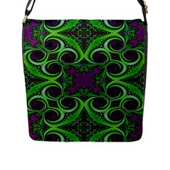 Purple Meets Green Flap Closure Messenger Bag (large)