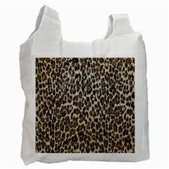 Chocolate Leopard  White Reusable Bag (two Sides)
