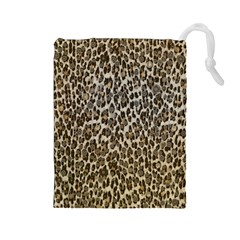 Chocolate Leopard  Drawstring Pouch (Large)