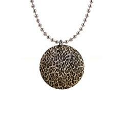 Chocolate Leopard  Button Necklace