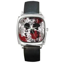 Skull Grunge Graffiti  Square Leather Watch
