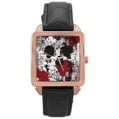 Skull Grunge Graffiti  Rose Gold Leather Watch