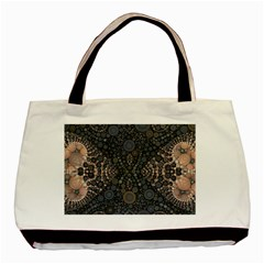Fuzzy Peach  Twin Sided Black Tote Bag