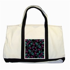 Ornate Dark Pattern  Two Toned Tote Bag