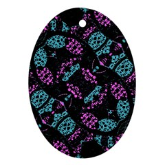 Ornate Dark Pattern  Oval Ornament (two Sides)