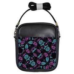 Ornate Dark Pattern  Girl s Sling Bag