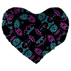 Ornate Dark Pattern  19  Premium Heart Shape Cushion