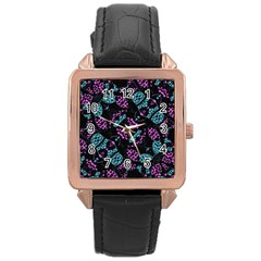 Ornate Dark Pattern  Rose Gold Leather Watch