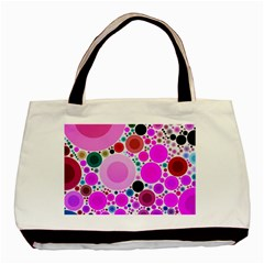 Bubble Gum Polkadot  Twin-sided Black Tote Bag