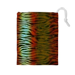 Earthy Zebra Drawstring Pouch (large)