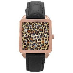 Cheetah Abstract Rose Gold Leather Watch