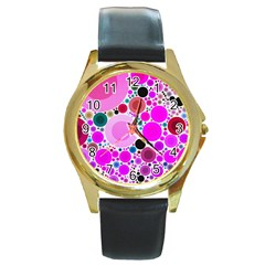Bubble Gum Polkadot  Round Leather Watch (gold Rim)
