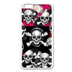 Metal Bling Skulls  Apple Iphone 6 Plus Enamel White Case