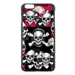 Metal Bling Skulls  Apple Iphone 6 Plus Black Enamel Case