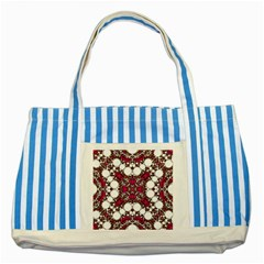 Pink Pearl Blue Striped Tote Bag