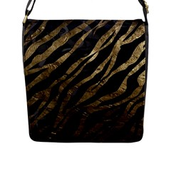 Gold Zebra  Flap Closure Messenger Bag (large)