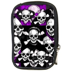 Purple Haze Skull And Crossbones  Compact Camera Leather Case
