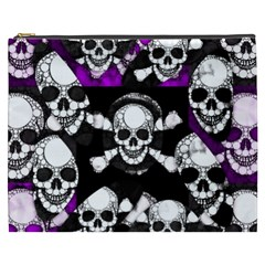 Purple Haze Skull And Crossbones  Cosmetic Bag (XXXL)