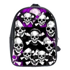 Purple Haze Skull And Crossbones  School Bag (xl)