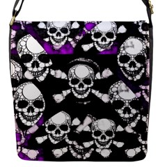 Purple Haze Skull And Crossbones  Flap Closure Messenger Bag (small)