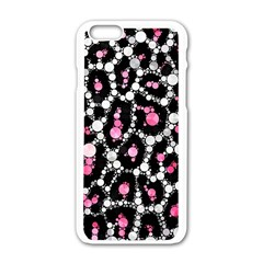 Pink Cheetah Bling Apple iPhone 6 White Enamel Case