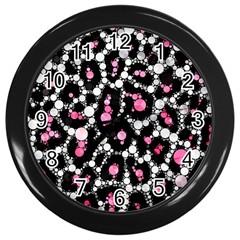 Pink Cheetah Bling Wall Clock (black)