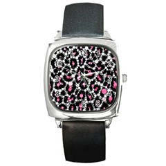 Pink Cheetah Bling Square Leather Watch