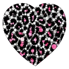 Pink Cheetah Bling Jigsaw Puzzle (Heart)