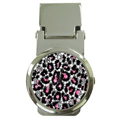 Pink Cheetah Bling Money Clip With Watch