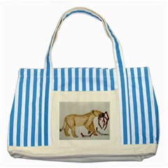 Giant Spider Fights Lion  Blue Striped Tote Bag