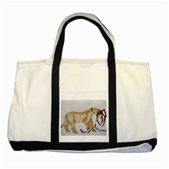 Giant Spider Fights Lion  Two Toned Tote Bag