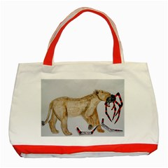 Giant Spider Fights Lion  Classic Tote Bag (Red)