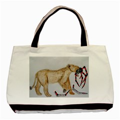 Giant Spider Fights Lion  Twin-sided Black Tote Bag