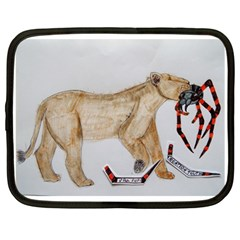 Giant Spider Fights Lion  Netbook Sleeve (large)