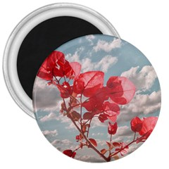 Flowers In The Sky 3  Button Magnet