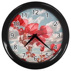Flowers In The Sky Wall Clock (black)