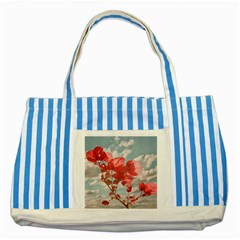 Flowers In The Sky Blue Striped Tote Bag
